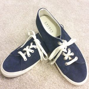 Lauren by Ralph Lauren Blue Suede Lace Up Sneakers